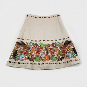 Basil and Maude Beaded Floral Embroidered Skirt